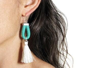 Tassel earrings, Statement earrings, Teal and emerald, Handmade tassels, Cotton fabric jewelry, Sterling silver hooks, Lightweight earrings