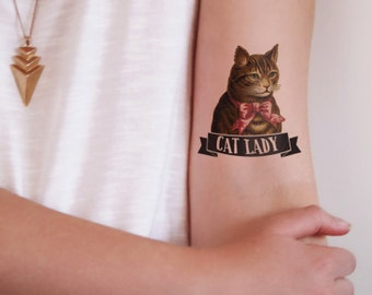 Novelty gag gifts etsy for Cat lady tattoo