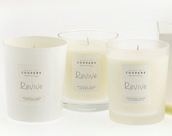 SOY CANDLE. REVIVE 100% Natural; with Lemongrass, Ginger, Lime and Bergamot Essential Oils. 185g. 36 hours burn time.