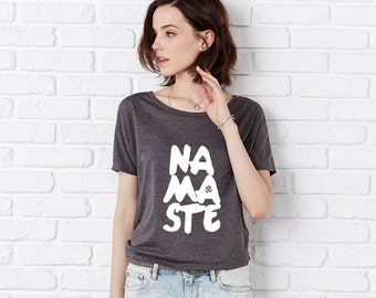 Namaste Flowy Open Back T Shirt, Slouchy, Fitness Top, Yoga Top, Dance T Dark Grey Heather/White by Sloganfit