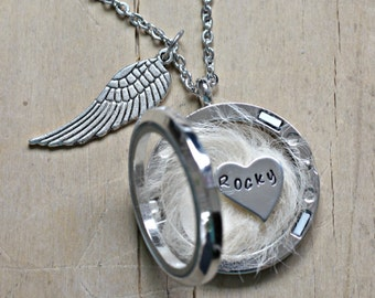 Pet loss Necklace, Lock of Hair Necklace, Pet memorial gift, Loss of a Pet, Memorial Jewelry, Glass Floating Locket Fur Ashes Dog Keepsake
