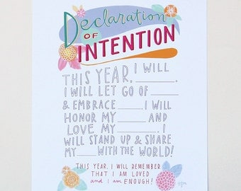"Declaration of Intention New Year's Resolution Hand-Lettered 8""x10"" Print by Emily McDowell"