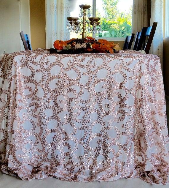 Rose Gold Vine Sequin Tablecloth Rose Gold Vine Sequin
