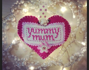 Custom made Yummy mummy pink felt hanging heart with cross stitch detail
