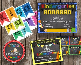 50% OFF SALE Kindergarten Graduation {Bundle} Banner - Diploma - Invitation - Printable - PDF - Instant Download - Decoration