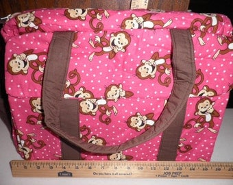 Diaper Bag & Changing Pad made with Monkey Fabric
