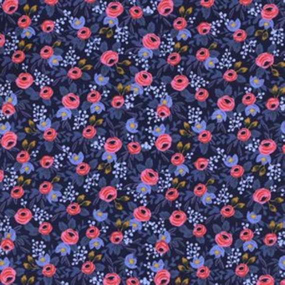 Cotton and Steel - Rifle Paper Co - Les Fleurs - Rosa in Navy