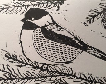 Chickadee- Handmade Block Print Greeting Card