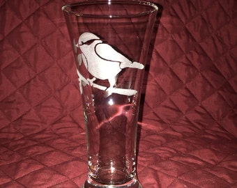 1 Hand Etched Bird on a Limb Glass!