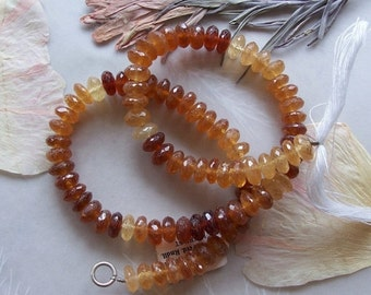 "ON SALE Shaded Hessonite Garnet Gemstone Rondelle Beads ~ 14"" Strand ~ 7mm-7.5mm"