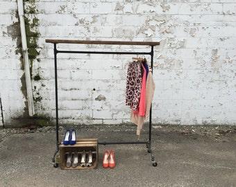 Rolling Garment Rack - Top Shelf