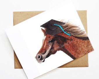 Graduation Card - Horse, Grad Card, College Graduation, High School Grad, Congrats Grad, Congrats Card, Cute Animal Card, Horse Card