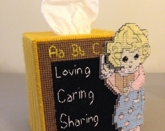 Precious Moments School Teacher Tissue Box Cover, Teachers Gift, School, Caring, Christmas Gift,