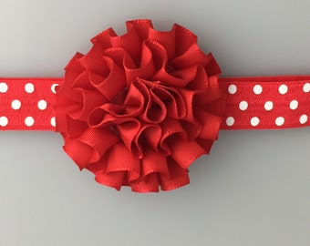 Red Chiffon Flower Baby Headband