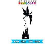 Disney svg files. Tinkerbell and Disney Castle clipart svg png jpg dxf Disney printable digital scrapbook craft design