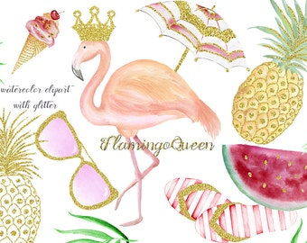 Watercolor clipart with glitter, instant download. Summer, Flamingo, Flip flops, ice cream, watermelon, pineapple, glasses. Vacation time