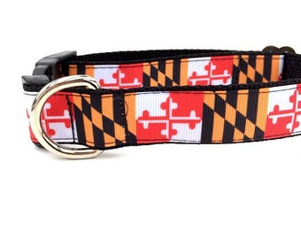 Maryland Dog Collar, Leash or Step In Dog Harness with Personalized Engraved Buckle Option
