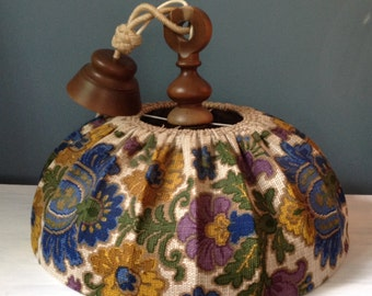 Vintage Floral  Fabric Ceiling Light.1970's