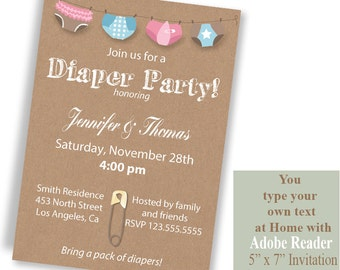 Diaper party Invitation, Printable Instant Download invite, kraft background invite, Type your own text with Adobe Reader PDF File A1020
