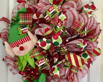 Christmas Elf Wreath, Elf Christmas Wreath, Whimsical Elf Wreath, Christmas Gift For Mom, Whimsical Christmas Wreath, Christmas Gift Idea