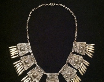 Wonderful Authentic Antique 0900 Silver Mexican Necklace and Brooch