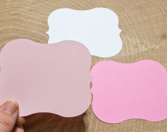 "Pink Die Cut 4"" Bracket Labels - DIY Die Cut Tags - Card Stock Label - Wedding - Shower"