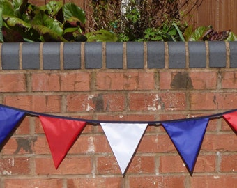 Outdoor bunting, waterproof bunting, weatherproof bunting, garden bunting, Queens birthday bunting in red, white & blue