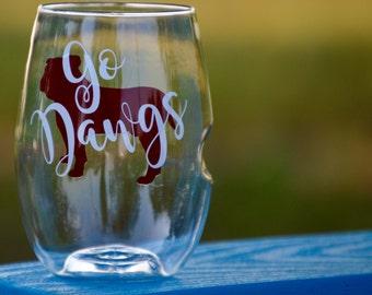 Go Dawgs Wine Glass - Govino Wine glass - Mississippi state - bulldogs - ms state bully - stemless wine glass - best wine glasses