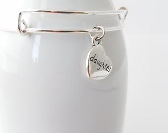 Daughter silver plated bangle bracelet