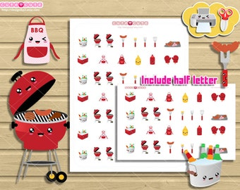 Backyard BBQ barbecue Printable Stickers. King of the Grill Set  for your erin condren, happy planner, filofax. Cute but functional.