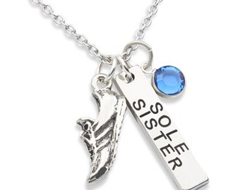 Running Jewelry, SOLE SISTER, Running Jewelry,  Running Necklace, Sole Sister