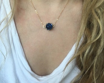 Druzy gold necklace, blue druzy gold necklace, druzy necklace, druzy pendant,