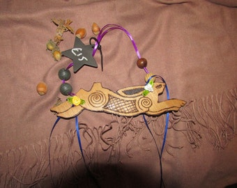 Medium Celtic Leaping Hare - with ribbons and beads -