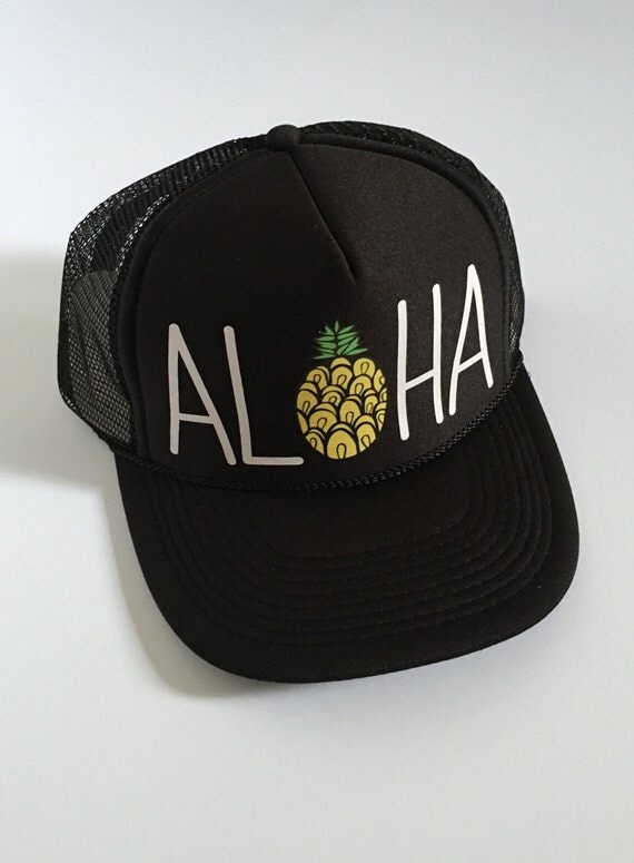 Aloha Trucker Hat| Aloha Hat| Pineapple| Trucker Hat|Beach Hat| Hawaii Hat| Black- with vinyl design