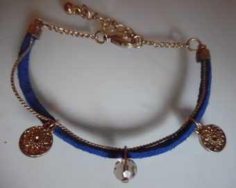 Electric charm and Suede Blue bracelet