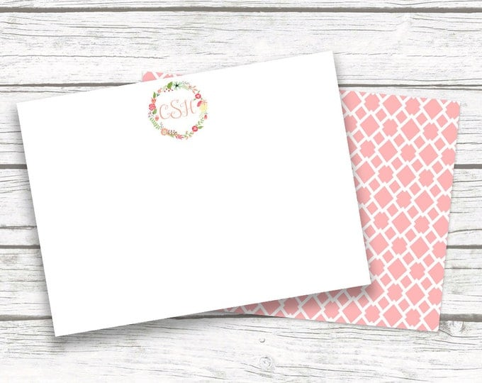 Pink Monogram Note Cards, Floral Notecards with Matching Back Design, Custom Bridesmaid Christmas Gift, Printed or Printable Options