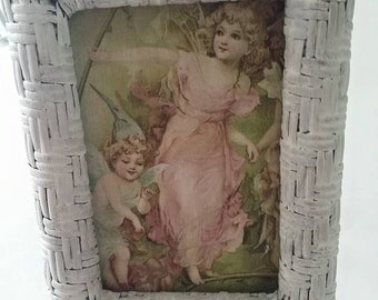 Lovely fairy wall decoration in wicker frame! Romantic fairylike wall hanging