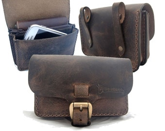 EL BURRO rustico leather belt bag Fanny Pack of pull up leather