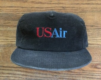 Vintage Corduroy US Airways US Air Trucker Hat Snapback Baseball Cap