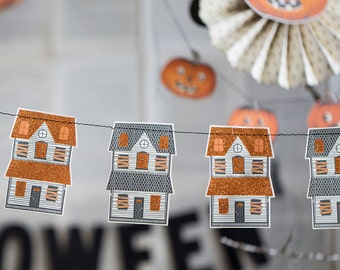 Halloween Party Decorations, Haunted House Mini Banner, Halloween Decor, Ghosts, Trick or Treat, Happy Halloween, Banner, Vintage Halloween
