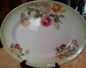 Antique Steubenville Rose Platter, United States, Lusterware Victorian antique lusterware oval platter luisterware