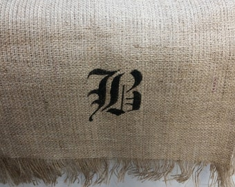 "Monogram B Hand crafted stenciled burlap tablerunner 72"" x 13"""