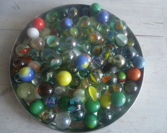 Set of 20 glass Marbles,vintage French marbles 60s, I offer TEN marbles ,when you buy two sets of  marbles,