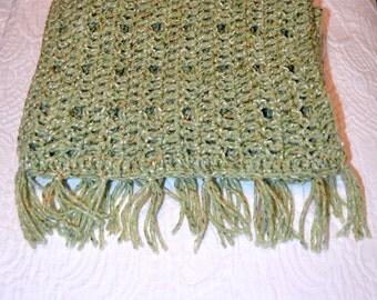 Hand Crochet Long Scarf.  Warm Winter Scarf,  Adult Size Scarf, with Fringe  Red Heart fiesta in Meadow Green