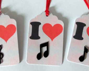 Music gift tags, music favor tags, I love music tags, music party tags, musical note tags, music theme party, music tag, music note tags
