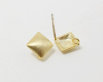 E0013/Anti-tarnished Gold Plating Over Brass+Sterling Silver Post/Square Earrings/6x6mm/2pcs