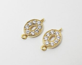 P0409/Anti-tarnished Gold Plating Over Brass/Cubic Zirconia Ellipse Connector/7x13.5mm/2pcs