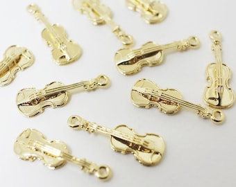 P0418/Anti-tarnished Gold Plating Over Brass/Violin Pendant/8x 24mm/2pcs