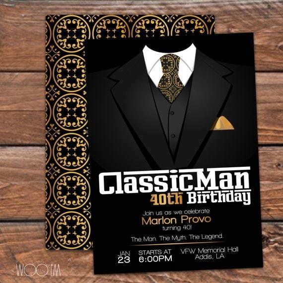 Classic man 40th birthday invitation 30th 50th printable - Birthday decorations for mens th ...