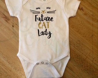 Future Cat Lady Baby Outfit, Toddler Shirt, Bodysuits, Cat Person